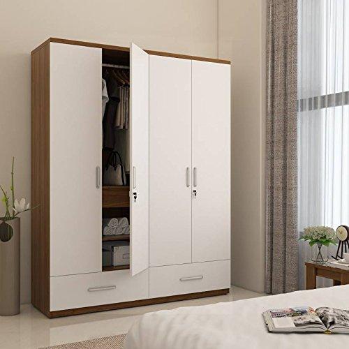 Hekami interiors 4 Doors Wardrobe (White high Gloss + Walnut)