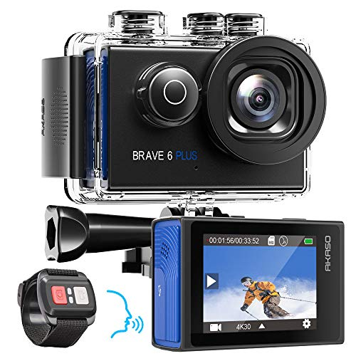 AKASO Action Cam 4K/30fps Action Kamera 20MP WiFi Touchscreen Unterwasserkamera 40m Brave 6 Plus mit EIS 8X Zoom Sprachsteuerung Fernbedienung Helmet Zubehör Kit Sportkamera 2X 1350mAh Batterien