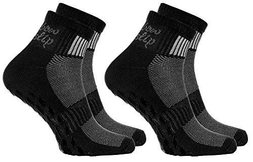 Rainbow Socks - Donna Uomo Sportive Calze Antiscivolo ABS di Cotone - 2 Paia - Negro - Tamao 39-41