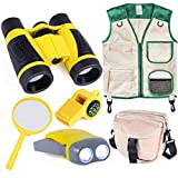 INNOCHEER Kids Outdoor Explorer Kit with Vest and Crossbody Bag, Children Adventure Costume Set with Binocular, Magnifying Glass, Hand-Crank Flashlight, Whistle for Boys Girls