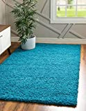 Unique Loom Solo Solid Shag Collection Modern Plush Turquoise Area Rug (5' 0 x 8' 0)