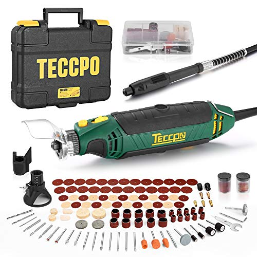 Rotary Tool TECCPO Professional 135W, 10000-35000RPM, 6 Variable Speed with Flex shaft, Protective Shield, Sharpening Guide, Cutting Guide, 114 Accessories Ideal for Crafting Project and DIY