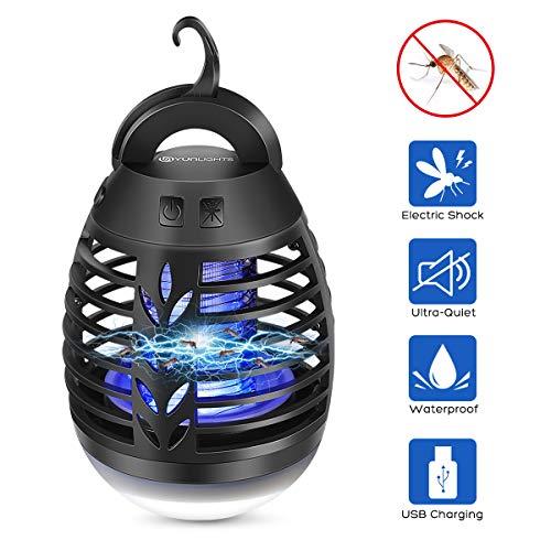 YUNLIGHTS Lampada Antizanzare Elettrico Insetticida con Luce UV e Cassetto Raccogli, Lanterna Campeggio Lampada Trappola PE USB Batteria 2500mAh per Trekking, Pesca, Tenda