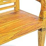 DIVERO 2-Sitzer antike Gartenbank 115 cm massiv Teak-Holz Handarbeit 2 Personen Bank mit Schnitzereien natur - 4