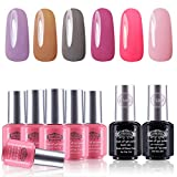 Perfect Summer Gel Nail Polish Set 6 Colors Gel Nail Varnish with Top Coat Base CoatSoak Off UV LED Manicure 8ML, Gray Color, Pink Color 080