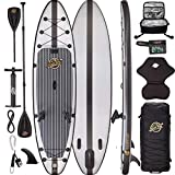 11'6 Inflatable Paddle Board - Hippocamp - Carbon Fiber + Grey Fishing ISUP - XXL Backpack, Fishing Kit, Kayak seat, Isup Cooler, 4pc Paddle, Repair kit, Leash, fins (Carbon Fiber)