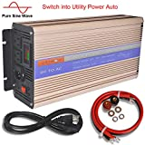 Pikasola 1500W Pure SINE Wave Inverter Solar Wind Power Inveter 12V or 24V to 110V with LCD Display Build in Utility Power Switch Off Grid Power Converter for Home RV Truck Boat Camping(24V)