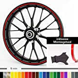 Motoking Felgenrandaufkleber mit Montagetool für Ihr Motorrad / 6 mm / für 10' bis 25' / Farbe wählbar - Rot glänzend