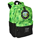 JINX Minecraft Miner's Society Kids School Backpack, Green, 16'