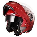 AHR Full Face Flip up Modular Motorcycle Helmet DOT Approved Dual Visor Motocross Red XL