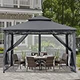 ABCCANOPY 10x12 Patio Gazebos for Patios Double Roof Soft Canopy Garden Gazebo with Mosquito Netting for Shade and Rain, Dark Gray