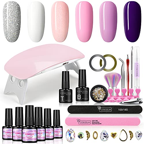 Gel Nail Polish Kit with UV Light Starter Kit Base and Top Coat 6 Colors White Purple Pink Soak Off Gel Nail Polish Set 6W UV LED Nail Lamp Manicure Decoration Tools Nail Salon Home DIY