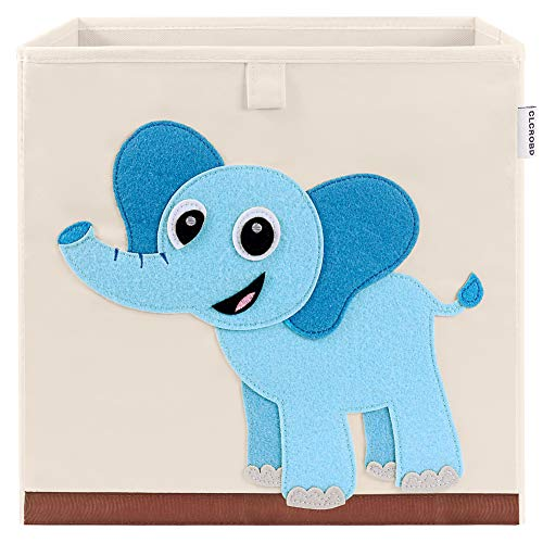 CLCROBD Foldable Animal Cube Storage Bins Fabric Toy Box/Chest/Organizer for Kids Nursery, 13 inch (Elephant)