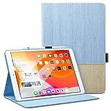ESR iPad 10.2 ケース 第7世代 2019モデル専用 PUレザー 手帳型[オートスリープ/ウェイク][ペンシルホルダー付き][ブックカバーデザイン][角度調節可能な鑑賞スタンド]アーバンプレミアム 二つ折りスタンド iPad 10.2インチ2019専用カバー(青空色)