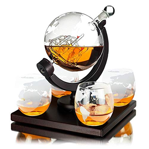 Whisiskey® Whiskey Karaffe – Globus - Whisky Karaffe Set - Vatertagsgeschenke - 900 ml -...