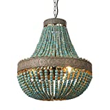 Newrays Wood Bead Chandelier Pendant Lights Finishing Retro Vintage Antique Rustic Kitchen Ceiling Lamp Light Fixtures (Large-Middle Blue)