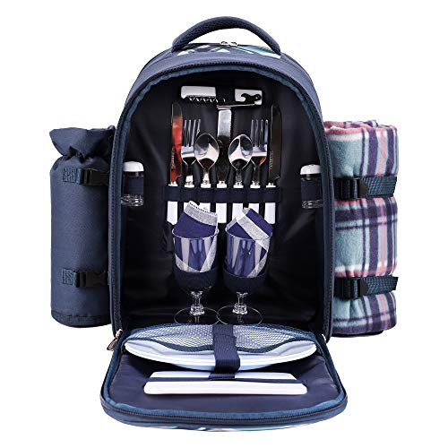 apollo walker Picnic Backpack Bag for 2 Person with Cooler Compartment, Detachable Bottle/Wine Holder, Fleece Blanket, Plates and Cutlery (Blue)