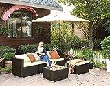 Gartenmöbel-Set 5-teilig aus Polyrattan handgeflochten Gartensofa Gartentisch mit Glasplatte - 9