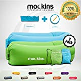 Mockins 2 Pack Inflatable Lounger Air Sofa Perfect for Beach Chair Camping Chairs or Portable Hammock and Includes Travel Bag Pouch and Pockets   Easy to Use Camping Accessories -Blue and Green Color