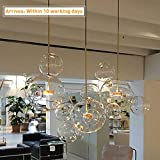 EDISLIVE Soap Bubble Chandeliers with 3 Glass Pendant Light 14 Glass Globe Pendant Ceiling Light for Kitchen Island Lights Fixture (Long Canopy)