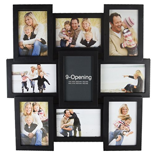 MELANNCO 5184034 9-Opening Puzzle Collage Picture Frame, Black