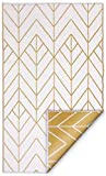 Fab Habitat Reversible Rugs | Indoor or Outdoor Use | Stain Resistant, Easy to Clean Weather Resistant Floor Mats | Sydney - Gold & Cream, 4' x 6'