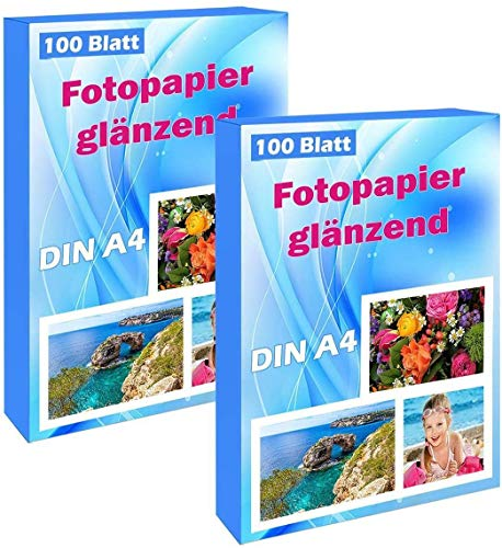 200 Blatt Photopapier A4 hoch glänzend tintenstrahldrucker 240g/m² fotopapier Fotokarten Photokarten Sofort Trocken Wasserfest Hochweiß fotoblätter