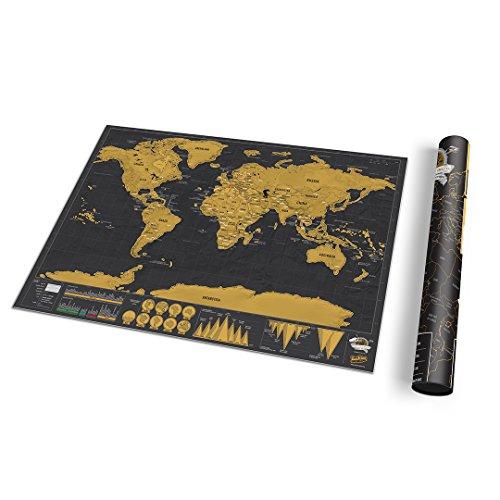 Petite carte du monde à gratter de luxe - Carte du monde avec tube de...