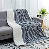 CAROMIO Electric Blanket Throw - Soft Flannel to Sherpa Reversible Heating Blanket 50' x 60', UL Certification 4 Heating Levels & 4 Hours Auto Off, Machine Washable Heated Throw Home Office Use Grey