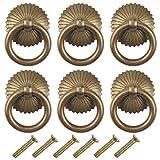 6 Piezas Pomos y Tiradores Vintage, Tiradores para Cajones, Tirador Manija Anillo para Muebles...