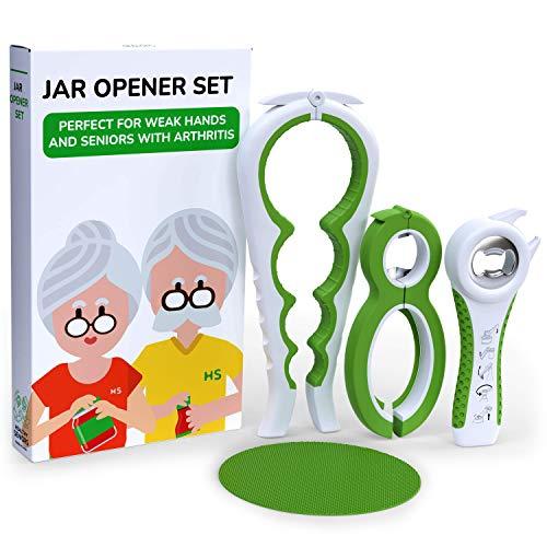 Healthy Seniors Jar Opener Set - The Jar Opener For Seniors With Arthritis, Weak Or Rheumatoid Hands