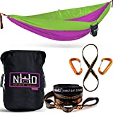 Double Camping Hammock - Portable Two Person Parachute Hammock for Outdoor Hanging. Heavy Duty & Lightweight, Best for Backpacking & Travel. Sunrise Edition (Orange/Black)