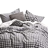 Wake In Cloud - Checker Comforter Set, Gray Grey Buffalo Check Plaid Geometric Modern Pattern Printed, 100% Cotton Fabric with Soft Microfiber Inner Fill Bedding (3pcs, King Size)