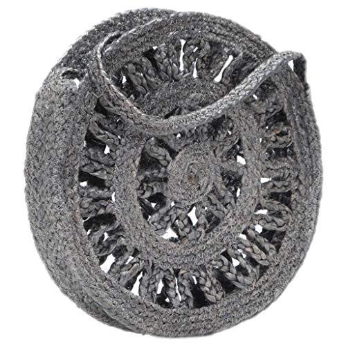 Round Should Bag Hollow Grigio scuro Handmade Juta Abbigliamento & Accessori Borse, Portafogli & Casi Borse