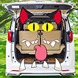 JETEHO Halloween Black Cat Trunk or Treat Car Decorations with Ears, Eyes, Nostrils, Tongue, Fangs Halloween Decorations for Car Garage Door Entryway Archway Black Cat Halloween Decor Outdoor