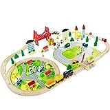 Nuheby Circuit Train en Bois 82 Piéces Jeux de Construction Train Enfant, Coffrets de Train et Véhicules Rails pour Enfants Fille Garçon 3 4 5 Ans, Jeu Créatif Jouets en Bois Cadeau