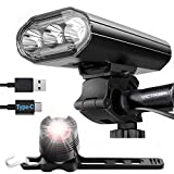 victagen 4000 Lumens USB Rechargeable Bike Lights Front and Back, 3 LED Bike Headlight Taillight, 8 Light Modes Bicycle Headlight,Type-C Easy installs Fits for All Bicycles,Road Kids Bikes Cycling