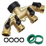 Twinkle Star 4 Way Heavy Duty Brass Garden Hose Splitter, Hose Connector 3/4', Hose Spigot Adapter with 4 Valves