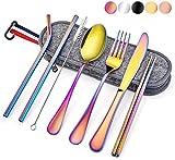 Conjunto de cubiertos de viaje de 8 piezas, conjunto de cubiertos de picnic de acero inoxidable para 1, utensilios de viaje reutilizables portátiles incluyen tenedor, cuchillo, cuchara, pajitas, palil