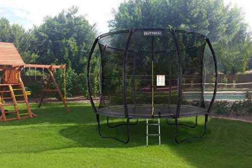 OUTTECH Premium Master Trampolin, schwarz, Ø 305 cm, elastische Sprungfedern, mit Sicherheitsnetz und Leiter, Gartentrampolin