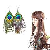 PPX Cinta para el Pelo con Pluma y Pendientes, Boho Hippie Beads Headwear Headband Indio de la Pluma...