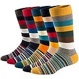 Ueither Chaussettes Fantaisie Homme Coton Peigné Confortable et Respirante Socks Socquettes,Multicolore 11,42-48, lot de 5 paires