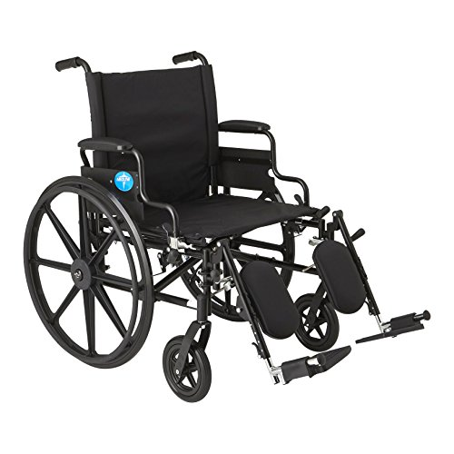 """Medline Premium Ultra-Lightweight Wheelchair with Flip-Back Desk Arms and Elevating Leg Rests for Extra Comfort, Black, 22"""" x 18' Seat"""