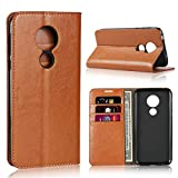 iCoverCase for Moto G7 Power Case,Genuine Leather Case,Shockproof Heavy Duty Protective with Folio Flip Wallet Leather Case for Motorola Moto G7 Power (Khaki)