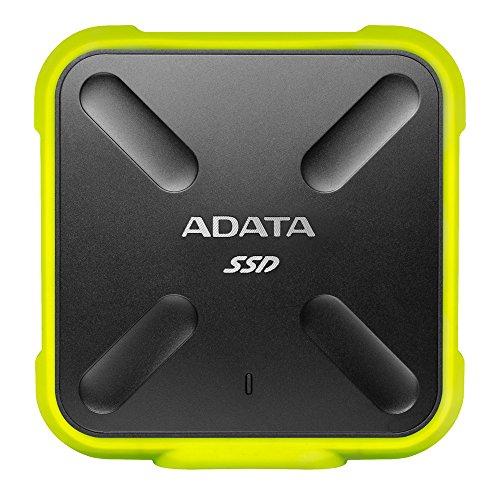 ADATA SD700 - 1 TB, externe Solid-State-Drive mit 3D-NAND-Flash, 2.5 Zoll, USB 3.2 Gen.1, IP68 wasserdicht und staubdicht, schwarz-gelb
