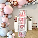 Wayfun Boîte à Ballons pour décorations de Douche de bébé - 4 boîtes de Douche de bébé Transparentes Blanches, y Compris des Lettres de bébé pour Fille garçon pour fête d'anniversaire