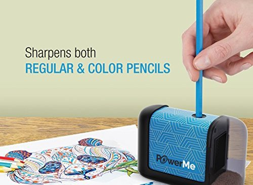 PowerMe Electric Pencil Sharpener - Battery Operated, for Home, Office, School, Artist, Students - Ultra Portable Automatic Pencil Sharpener, ideal for No. 2 And Colored Pencils (Drawing, Coloring)