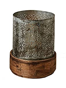 "Top is 9.75"" Round x 9.5"" High Base is 11"" Round x 4.25"" High Made of metal & wood Wipe clean with a dry cloth Total size is 11.5"" Round x 13.75"" High"