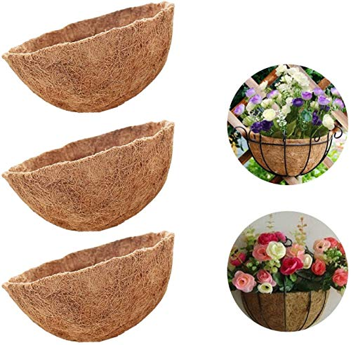 ZeeDix 3 Pack 12 Inch Hanging Basket Coco Liners Replacement, 100%...