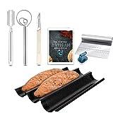 TACKLY Kit para hacer pan con receta y pack de utensilios panadería – Molde pan baguette casero horno - banetones para pan, rasqueta panadera, raspador, cuchilla greñar